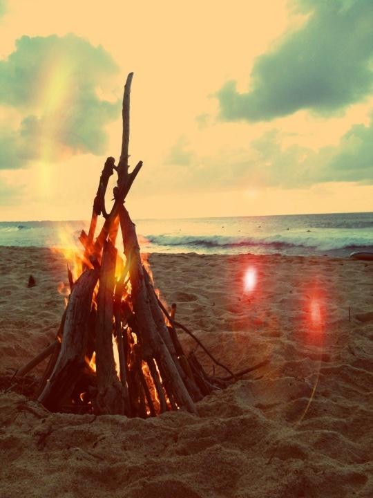 bone fire on the beach