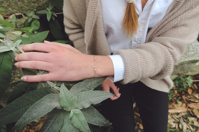 bracelet hexagone gris-2