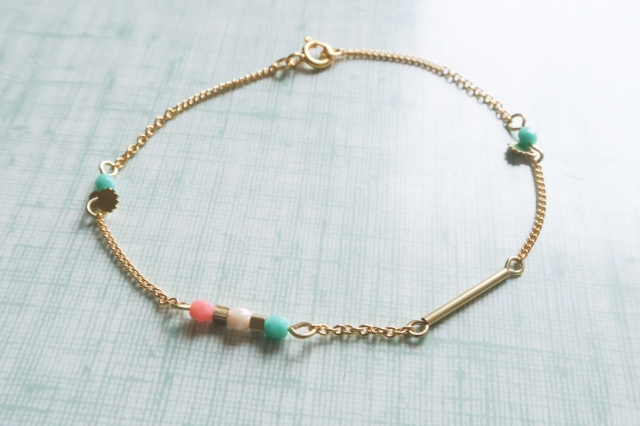 bracelet fin rose et vert-2