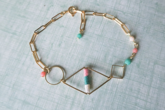 bracelet losange rose et vert-2